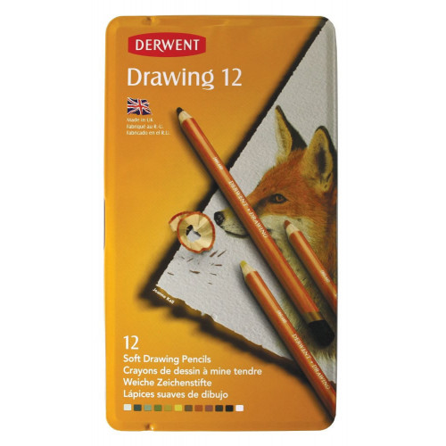 Derwent Drawing Pencils Tin 12-Assorted