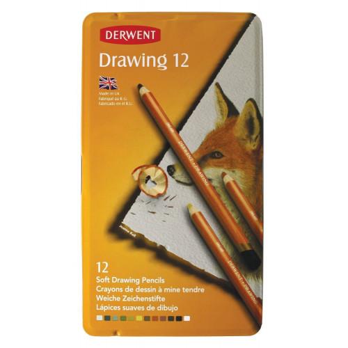Derwent Drawing Pencils Tin 12-Assorted