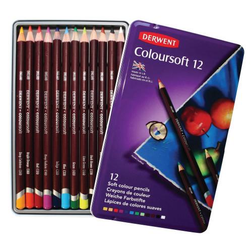Derwent Coloursoft Pencils - Assorted  - Tin of 12 - Coloursoft Pencils - Tin of 12 (0701026)