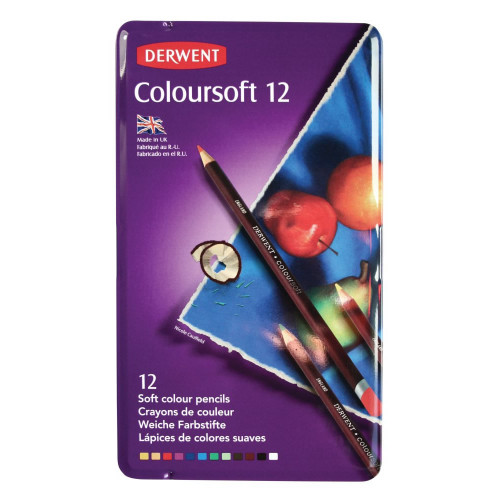 Derwent Coloursoft Pencils - Assorted  - Tin of 12 - Coloursoft Pencils - Tin of 12 (0701026)
