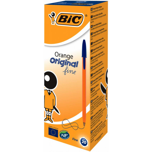 Bic Cristal Orange Fine Point Pk20-Blue