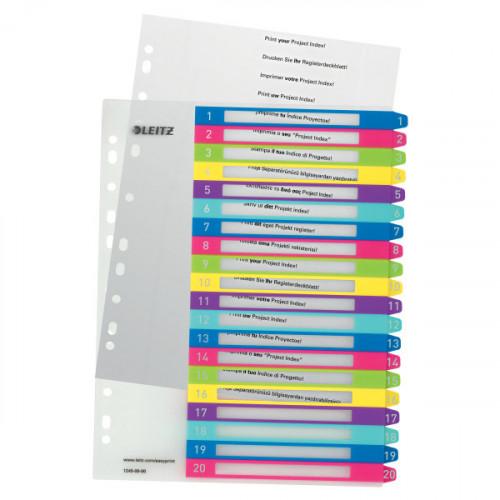 Leitz WOW Printable Index, Polypropylene, extra wide, premium numerical tabs. A4 Maxi, Multicolour