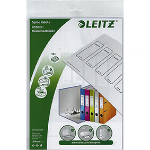 Leitz PC Printable Self-adhesive Spine Labels for WOW 1006 Lever Arch Files Grey (Pack of 60)