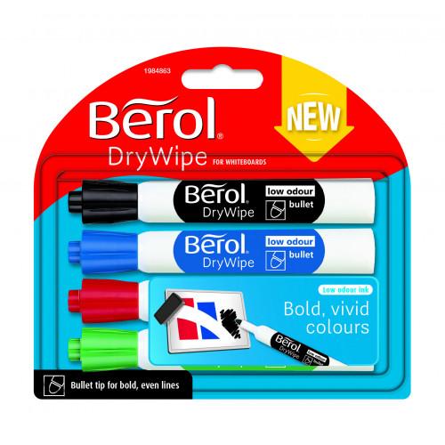 Berol Dry Wipe Whiteboard Marker Bullet Nib 2mm - Standard Colours (Pack of 4)