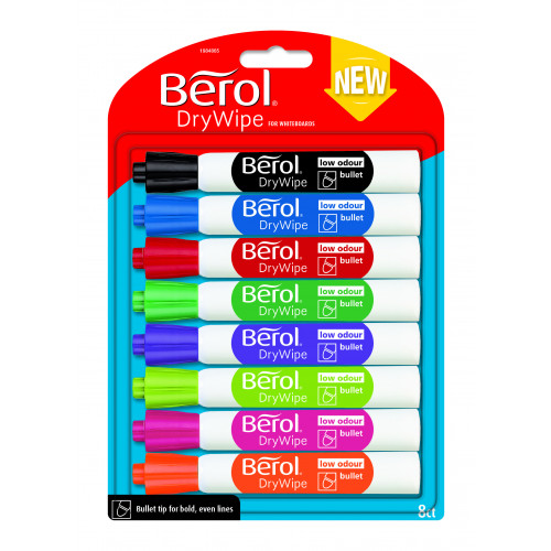 Berol Dry Wipe Whiteboard Marker Bullet Nib 2mm - Assorted Colours (Pack of 8)