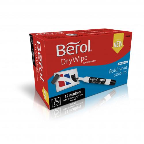 Berol Dry Wipe Whiteboard Marker Bullet Nib 2mm - Black (Box of 12)