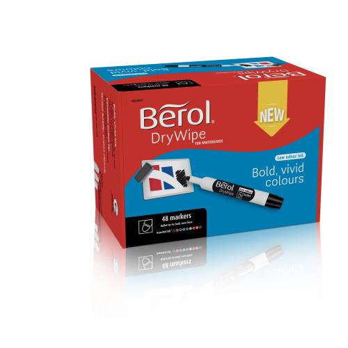 Berol Dry Wipe Whiteboard Marker Bullet Nib 2mm - Assorted Colours (Box 48)
