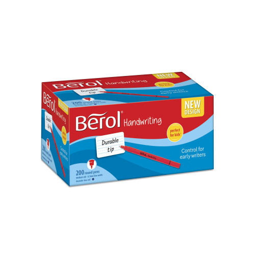 Berol Handwriting Pens, Round Shape, Washable Blue Ink, Bright Barrels, Class Pack of 200