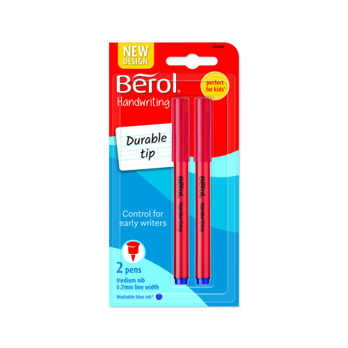 Berol Handwriting Clip Pen  - Pack of 2 - Blue