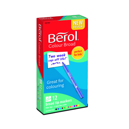 Berol Felt Tip Colouring Markers, Broad Point (1.2mm), Washable, Assorted Colours, 12 Count