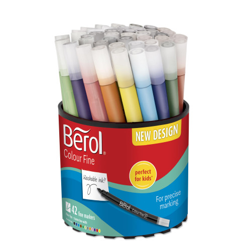Berol Felt Tip Colouring Markers, Fine Point (0.6mm), Assorted Colours, Tub of 42