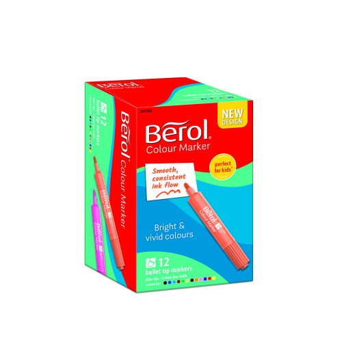 Berol Felt Tip Colouring Markers, Bullet Point (2.0mm), Washable, Assorted Colours, 12 Count