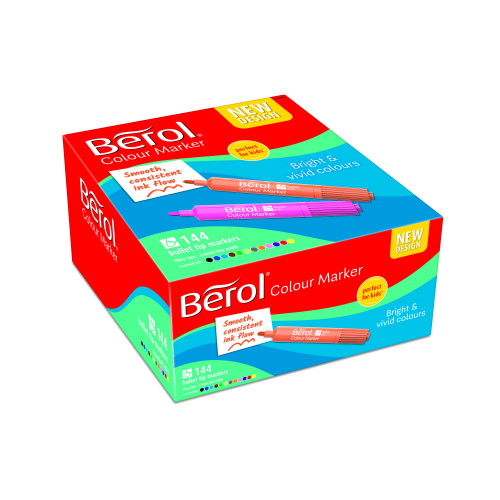 Berol Felt Tip Colouring Markers, Bullet Point (2.0mm), Washable, Assorted Colours, Class Pack of 144