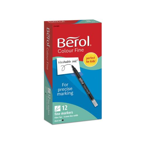 Berol Colourfine Marker - Black - Pack of 12