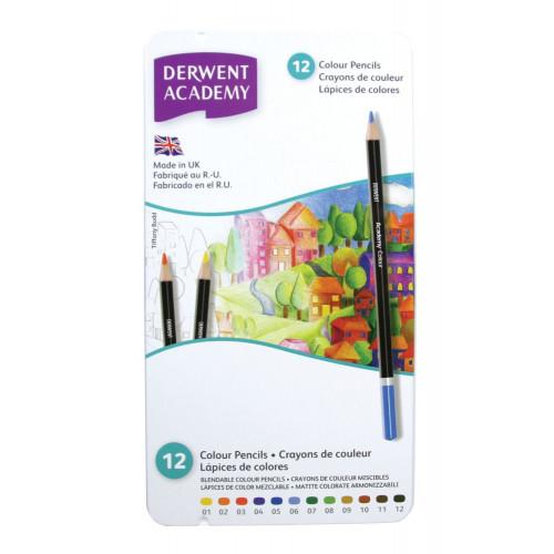 Derwent Academy Pencils Tin 12-Assorted