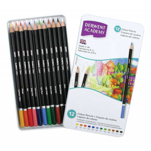 Derwent Academy Pencils Tin 12-Assorted