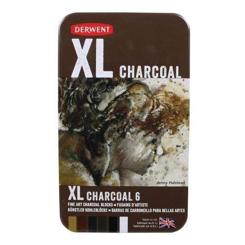 Derwent XL Charcoal Blocks Tin 6-Asstd
