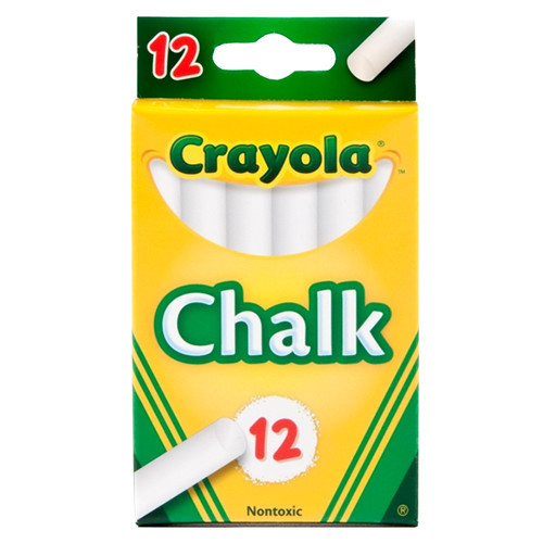 CRAYOLA WHITE ANTI DUST CHALKS PK12X12
