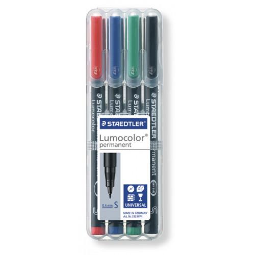 Lumocolor Permanent Broad Pk4- Assorted