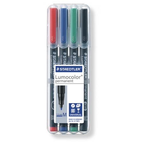 Lumocolor Permanent Medium Pk4- Assorted