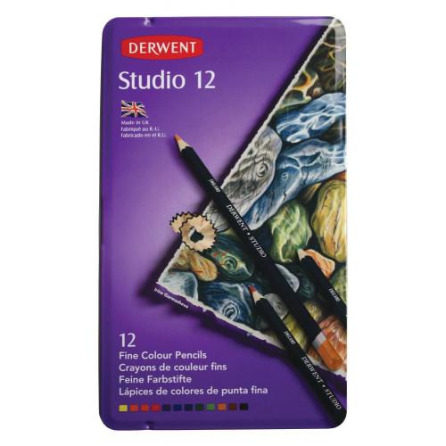 Derwent Studio Pencil Tin 12-Assorted
