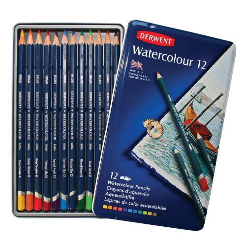 Derwent Watercolour Pencils Tin 12-Asstd