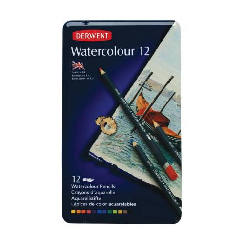 Derwent Watercolour Pencils Tin 12-Asstd
