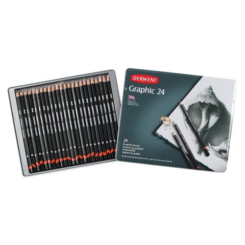 Derwent Graphic Pencils Tin 24-Assorted