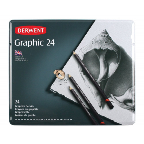 Derwent Graphic Pencils Tin 24-Assorted