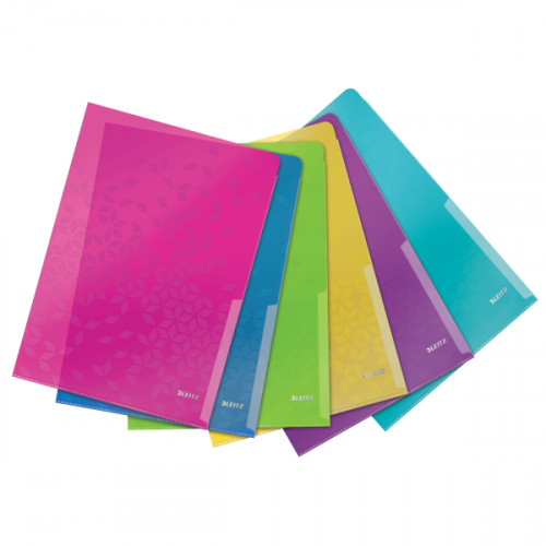 Leitz WOW Folder. For A4 document. Embossed long-lasting Polypropylene. Assorted. - Outer carton of 6