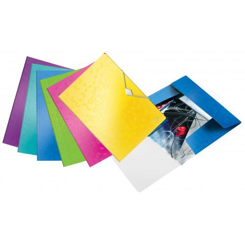 Leitz WOW 3-Flap Folder. Polypropylene. 150 sheet capacity. A4 - Outer carton of 10