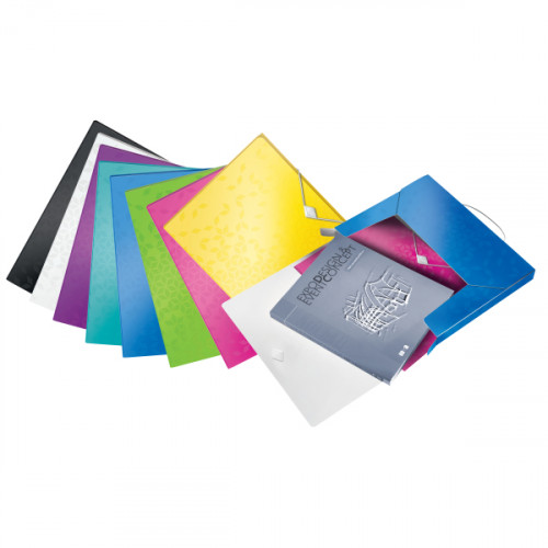 Leitz WOW Box File. Polypropylene. 250 sheet capacity. Spine width 30 mm. A4 - Outer carton of 5
