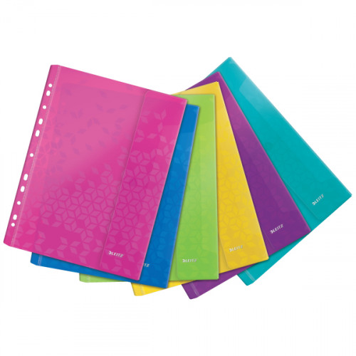 Leitz WOW Punched Pocket with flap, embossed strong Polypropylene, Assorted (Pack 6) - Outer carton of 30