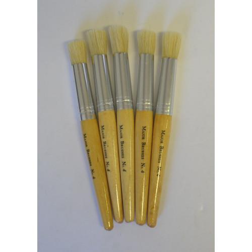 White Bristle Stencil Brush Size4 Pk5