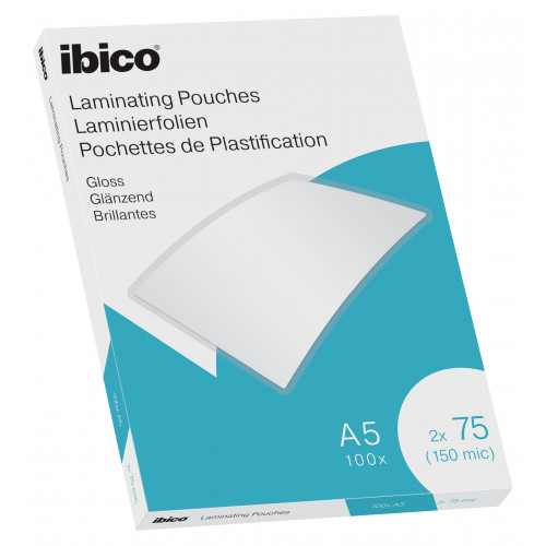 Ibico Gloss A5 Laminating Pouches 150 Micron Crystal clear (Pack 100)