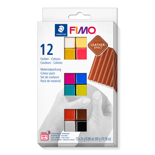 FIMO Leather Effect Colour Half Blocks 25g - Pack of 12
