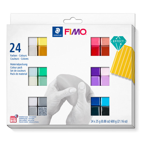 FIMO Effect Colour Half Blocks 25g - Pack of 24