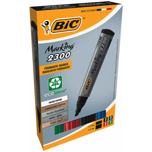 Bic Marker 2300 Chisel Tip Pk4-Assorted