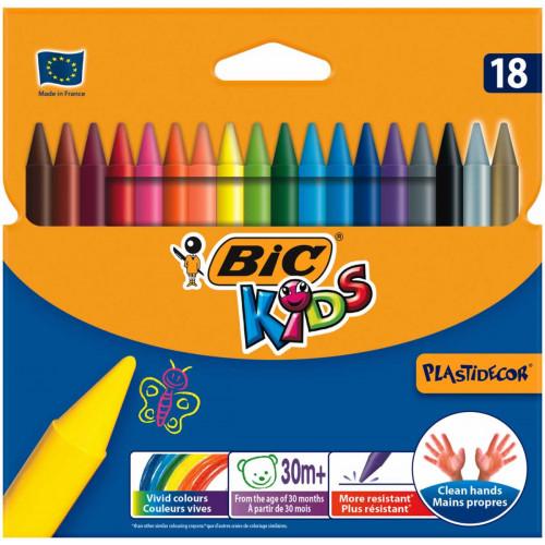 Bic Plastidecor Crayons Pk18-Assorted