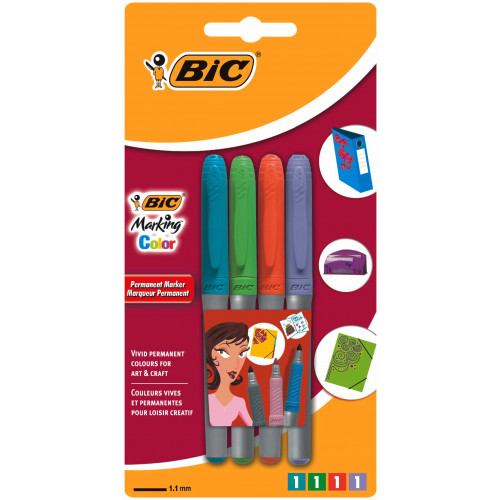 Bic Glass Marker Bullet Tip Pk4-Assorted