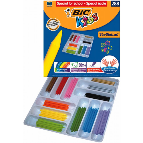 Bic Plastidecor Crayons Pk288-Assorted