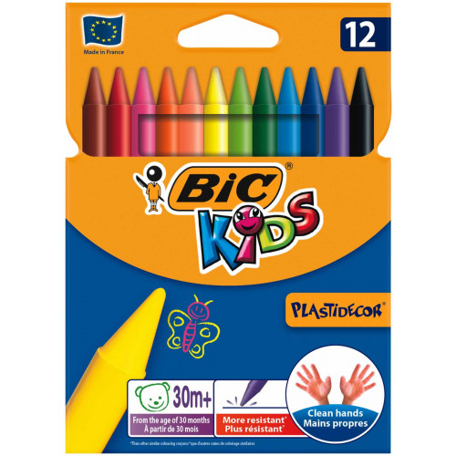 Bic Plastidecor Crayons Pk12-Assorted