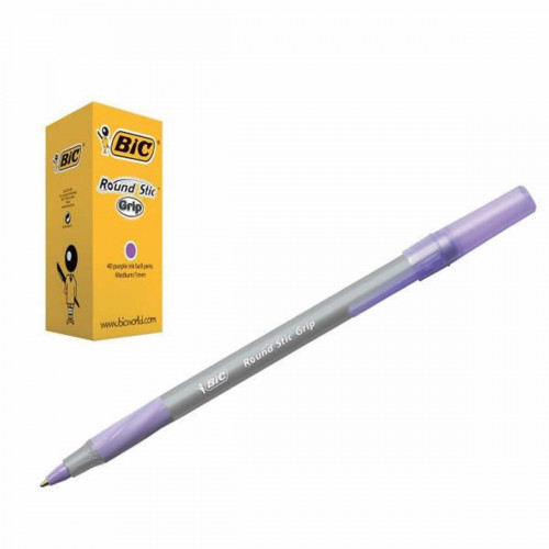 Bic Round Stic Medium Pk40-Purple