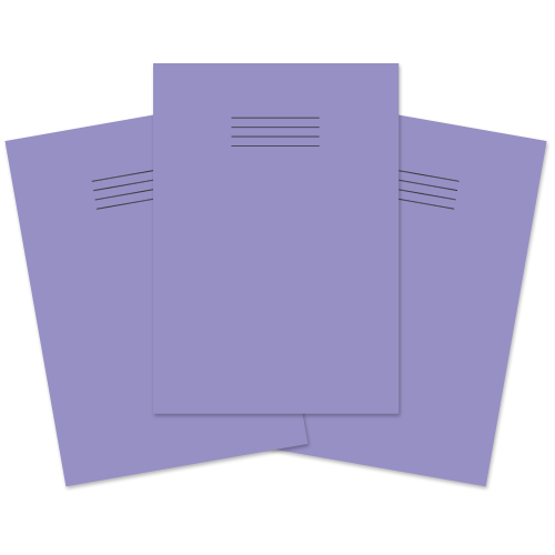 A4 Learn to Write Books 40 Pages 4mm Blue Ruled centred on 15mm Red Ruled Purple Cover