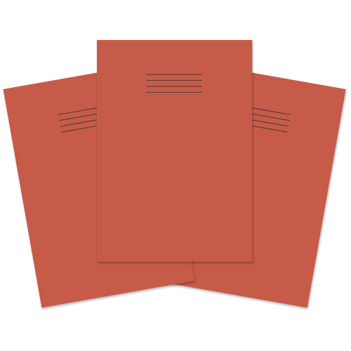 A4 Learn to Write Books 40 Pages 6mm Blue Ruled centred on 20mm Red Ruled Red Cover