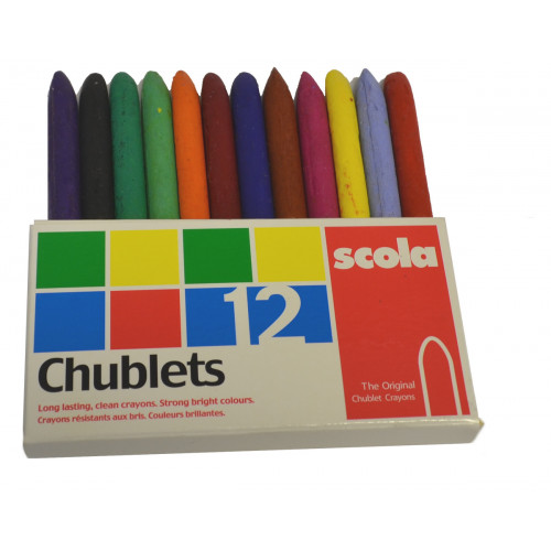 BOX OF 12 ASSORTED WAXED CHUBLET CRAYONS