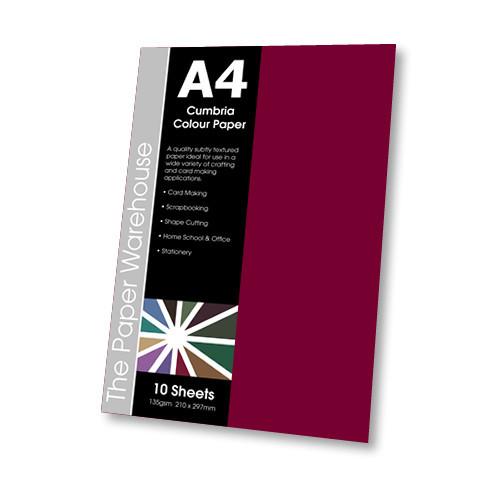 SCARLET CUMBRIA PAPER A4 135gsm PK10