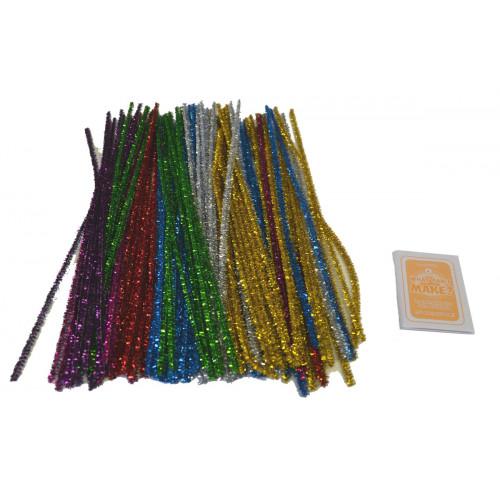 Tinsel Pipe Cleaners 30cm Asstd Pk100