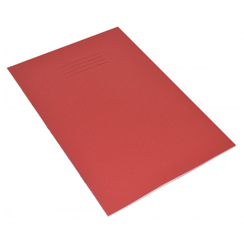 Exercise Book A4+ 48 Pages 8mm Ruled & Margin Red Cover - Pack of 50