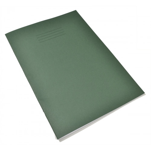 Exercise Book A4+ 48 Pages 8mm Ruled & Margin Dark Green Cover - Pack of 50